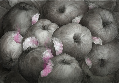 The Colour out of Space Chapter 1 Illustration - Ruindend apples with strange colour inside by Andreas Hartung