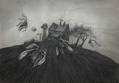 Illustration for The Colour out of Space Chapter 1 - Strange Insect fly on a spooky house by Andreas Hartung
